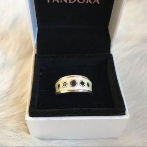 """Pandora Enamel """"Gemstone"""" 925 Silver Ring"""